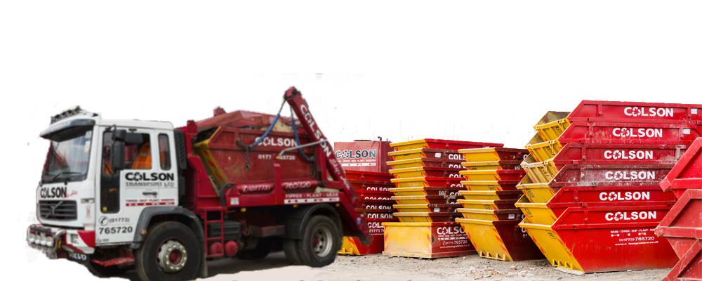 colson skips lorry with skip nottingham