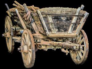 skip on a horse drawn cart